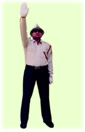 Traffic Police Hand Signals - To stop vehicles coming from front