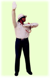Traffic Police Hand Signals - To start vehicle approaching from left